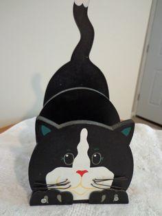 CAT DESK ORGANIZER, Wood Hand Painted Kitchen or Desk Organizer, Paper or Napkin Holder, Black Kitty Home Decor