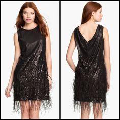 NEW JESSICA SIMPSON 10 Black Feather Sequin Lined V Draped Back Shift Dress $198  | eBay