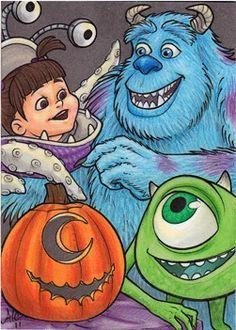 Monsters Inc at Halloween. Idea for pumpkin painting Film Disney, Disney Animated Movies, Disney Art, Disney Pixar, Halloween Cartoons, Halloween Clipart, Disney Halloween, Disney Monsters, Monsters Inc