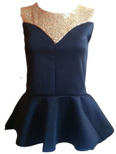 NEW WOMENS LADIES FRONT SEQUINS FRILL PEPLUM TOP