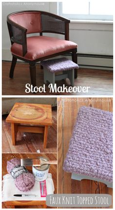 Faux Knit Topped Stool Tutorial. Love that texture!