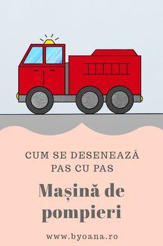 Mașină de pompieri - cum se desenează, #desen pas cu pas #learntodraw #drawing