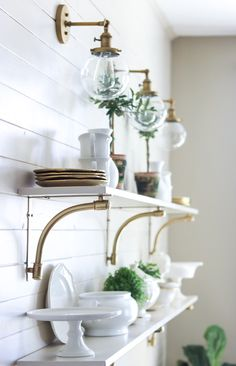awesome gold lighting over shelves Summer Home Tour | Sincerely, Sara D.