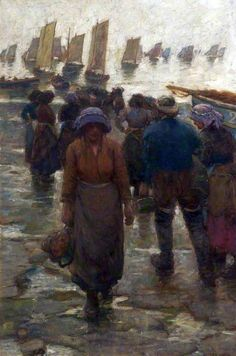 The Fishing Fleet - Signed Laura Johnson, this picture was painted in Staithes, Yorkshire, shortly before the artist's marriage to Harold Knight in Munier, English Artists, British Artists, Art Uk, Your Paintings, Figurative Art, Impressionist, Illustration, Knight