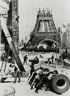 Illustration of the building of the Eiffel Tower./ Science Photo Library