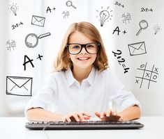 education, school and future technology concept - little student girl with keyboard and imaginary screen at school Beautiful Little Girls, Beautiful Children, Banners, School Advertising, Training Software, Powerpoint Background Design, Brain Training, Social Media Design, Kids And Parenting