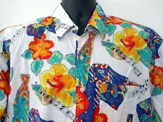 Bill Blass Hawaiian Shirt Musical Notes Tropical Flowers Printed Poplin Colorful #BillBlass #Hawaiian