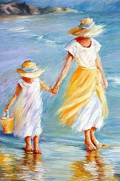 """Mother and Daughter to September McGee Oil ~ 16 """"x - Art Painting Mother Painting, Painting People, Pastel Art, Beach Art, Acrylic Art, Beautiful Paintings, Painting Inspiration, Art Pictures, Painting & Drawing"""