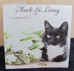They included their cat in the wedding invites! I can barely get my cats to pose for a cute christmas photo!