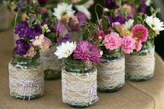 Burlap and Lace Hanging Mason Jar
