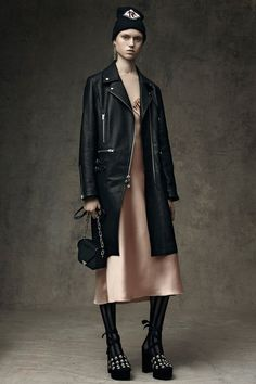 Alexander Wang Pre-Fall 2016 collection.  Leather + satin slip dress.