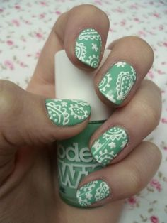 Mint Paisley nails Love the patterns, not over the top which is great