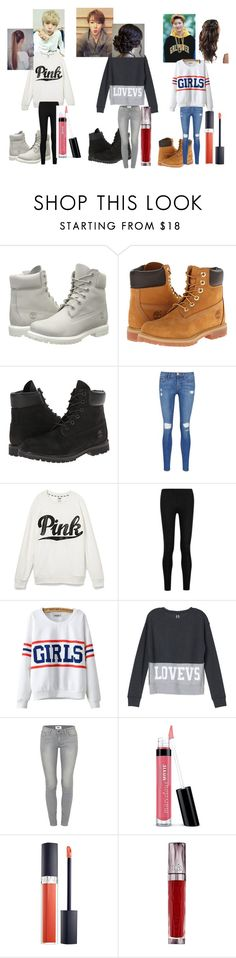 """Me and My besties with Oppa's~Monsta-X"" by kpoplifelaiya on Polyvore featuring Timberland, Frame Denim, Victoria's Secret, Donna Karan, Chicnova Fashion, Paige Denim, Bare Escentuals, Christian Dior and Urban Decay"