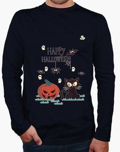 Camiseta Happy Halloween 2 Camiseta hombre manga larga  19,90 € - ¡Envío gratis…