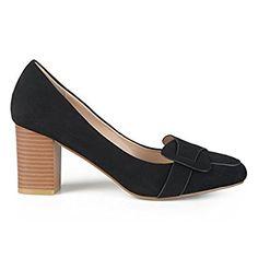 Amazon.com | Brinley Co. Womens Mid Heel Vintage Loafer Pumps Black 11 | Pumps