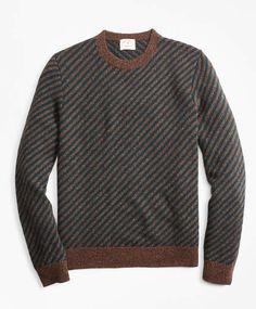 b4c09997ed Brooks Brothers Diagonal-Stripe Alpaca-Blend Crewneck Sweater Mens Fashion  Wear
