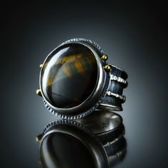 Tiger Eye Ring. Fabricated Sterling Silver & 18k. www.amybuettner.com