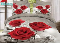 High Quality Pretty Red Roses Print 4 Pieces Polyester 3D Bedding Sets #floralbedding #3dbedding