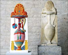 Ancient Roman sculpture with original colour and without.