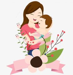 Mother And Child Drawing, Mother Daughter Art, Mother Art, Mother And Baby, Girly Drawings, Cartoon Drawings, Happy Mom, Happy Mothers Day, Baby Born Congratulations