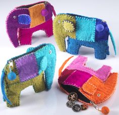 Hippy Purse~Coin Purse Ethnic Patchwork Felt Elephant Zip Up Purse~Fair Trade Folio Gothic Hippy P5