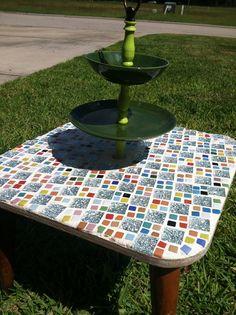 Retro Bath Side Mosaic Table  on Etsy, $145.00