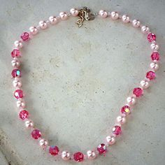 Lovely Swarovski Crystal and crystal pearl roseAB necklace by CrystallizedByLena