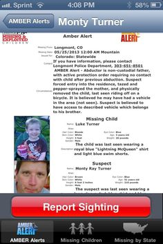 3/27/13 UPDATE:  Luke Turner, 3, was FOUND SAFE in Manitoba, Canada!  Police arrested his father in connection with the alleged abduction.  (3/25/13 Longmont, CO:  Police say this is the second time Monty Turner took his son, Luke, 3, away from his mother. Last July Luke and Monty Turner went missing for 8 months.  This time Monty tazed and pepper sprayed his estranged wive and escaped with the boy by bike.)