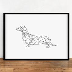 Dachshund Print, Animal Wall Decor, Digital Dog, Wall Art, Geometric Digital Art, Printable Art, Geometric Animal, Digital Print, Minimal