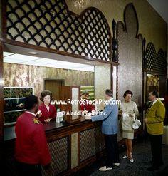 Tourist checking in at the Desert Inn, Daytona Beach Florida. Lobby Boy, Florida Location, Daytona Beach Florida, Cigarette Girl, Front Desk, Tourism, Deserts, Retro, Motel