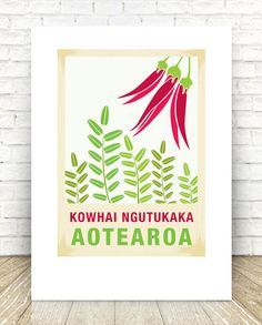 print – New Zealand native flower series. Perfect gift for any occasion. Reproduced digitally on Mohawk Felt Environment Day, Kiwiana, Flower Logo, Seed Pods, Paper Texture, Christmas Tree Decorations, Flower Prints, Postage Stamps, New Zealand