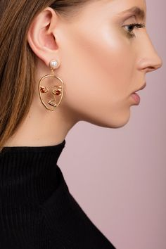 Fashion Vintage Red Brown Silver Gold Stone Simple Studs Zara Style Earrings