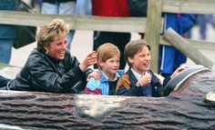 Princess Diana and Princes William and Harry at Thorpe Park.