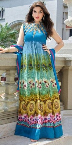 Aquatic Blue And Multi-Color Cotton Anarkali Suit.
