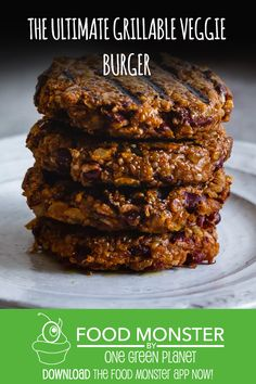 The Ultimate Grillable Veggie Burger! Vegan Meat Recipe, Vegan Lunch Recipes, Vegetarian Dinners, Burger Recipes, Dairy Free Recipes, Meat Recipes, Low Carb Recipes, Whole Food Recipes, Gluten Free