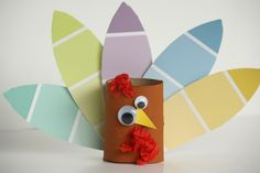 Toilet paper roll turkey craft. #Thanksgiving #recycle #turkey #easy #simple #paintchip #art #diy #craft #kids #children #toddler #preschool #prek #toiletpaper #kindergarten #upcycle