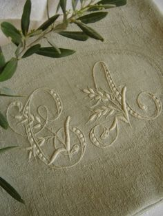 "Embroidered Linen ~ Monogram ""C"" and ""A"""