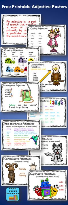 Parts of Speech ~ Adjectives - Book Units Teacher Teaching Materials, Teaching Tools, Teaching Resources, Teaching Ideas, Grammar And Punctuation, Grammar Lessons, Teaching Grammar, Grammar Review, Grammar Skills