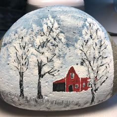 Snow day ❄️#snow #rockpainting #rockpaintings #paintedrocks
