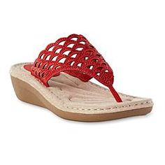 Cobbie Cuddlers Women's Allegra Red Embellished Wedge Sandal