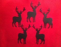 5x Deer Die Cut Black Card 9.5x5cm Christmas Embellishments Making Topper Craft