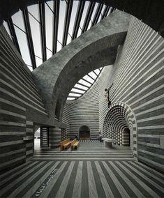 La structure de cette église est d'une forme elliptique aux rayures noires et blanches, avec un toit en pente totalement vitré. Une fois à l'intérieur, on est pris dans le tourbillon d'un damier vertigineux dû à l'utilisation de couches de marbre et de granit. Sans fenêtre, la seule entrée de lumière se fait par le toit et agit comme un puit de lumière, divin !