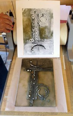 Judy Wise: Collographs with Akua Inks. Using Beeswax to create a textural printing plate. i could use this techniques to create my collagraph Gelli Printing, Screen Printing, Collagraph Printmaking, Printmaking Ideas, Encaustic Painting, Art Graphique, Teaching Art, Art Techniques, Art Education