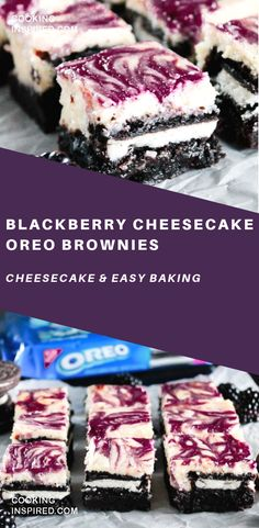 Blackberry Cheesecake OREO Brownies are what dreams are made of especially because they are filled with rich & creamy flavors! Blackberry Cheesecake OREO Brownies are what dreams are made of especially because they are filled with rich & creamy flavors! Oreo Brownies, Oreo Brownie Cheesecake, Blackberry Cheesecake, Brownie Cake, Cheesecake Recipes, Blackberry Recipes, Just Desserts, Delicious Desserts, Baking Desserts