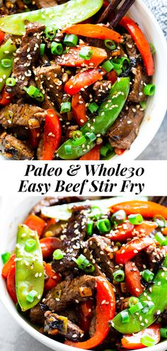 This quick and tasty paleo beef stir fry is loaded with flavor and veggies and uses clean simple ingredients. It's so much healthier than takeout but just as fast! Family approved and great for weeknight dinners. I love serving it over fried cauliflower rice to keep it paleo, Whole30 compliant and low carb too. #paleo #whole30 #lowcarb #keto