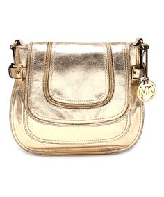 Another great find on #zulily! Pale Gold Naomi Large Leather Messenger Bag by MICHAEL Michael Kors #zulilyfinds