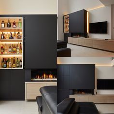 Fireplace with bar furniture.be design woodfloor bedroom bedroom bedroom Basement Fireplace, Home Fireplace, Modern Fireplace, Fireplace Design, Fireplace Furniture, Bedroom Fireplace, Bar Furniture, Living Room Tv, Home And Living