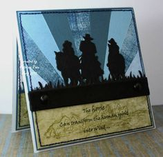 By Patricia Rose. Punched or die-cut grass. Cut out silhouettes of cowboys. A horse silhouette would work also. Masculine Birthday Cards, Masculine Cards, Australian Christmas Cards, Scrapbook Cards, Scrapbooking, Horse Cards, Horse Silhouette, Western Theme, The Draw