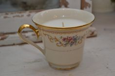 Candle in a tea cup by shopellion on Etsy, $12.00