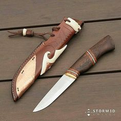 A mix of a puukko and hunting knife with a stacked handle from Walnut, cherry and white spacers. The leather sheath was decorated with pieces if cowbone and hammered copper. Cheers Mark #knifemaking #knifemaker #puukko #scandinavianknives #puukkoknife #hunting #knifestagram #customknives #bushcraft #knifemaker #blades #everydaycarry #handcrafted #knifecollector #knivesofinstagram #knifegasm #knivesdaily #bestknivesofig